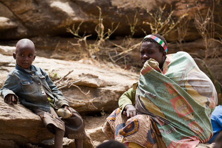 hunter gatherer: hadzabe woman with her child