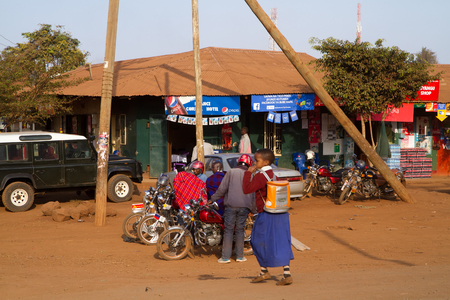 mope: people at a bus stop in Tanzania