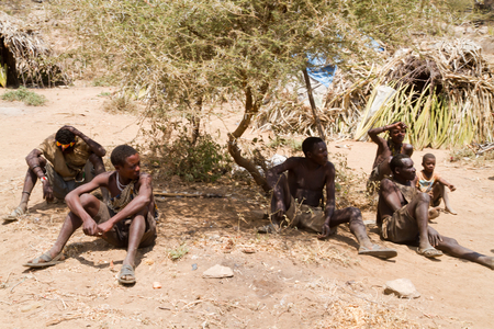 gatherer: hadzabe men sitting in the shade of the trees in tanzania