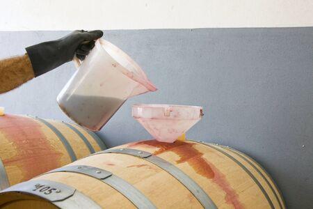 Gießen Wein in einem Eichenfass