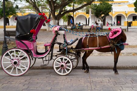 colonial house: horse carriage in izamal in typical colors Stock Photo