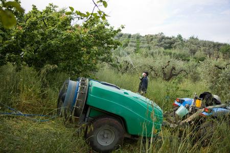 pesticides: farmer using pesticide Stock Photo