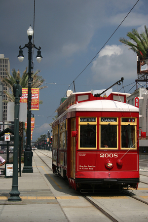 typical tram in the historical centre of new orleans