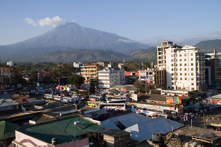 arusha landscape with mount meru on the back Editorial