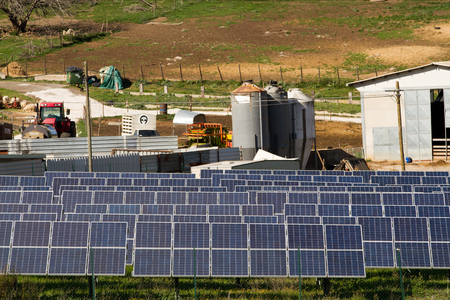 photovoltaic plant in a countryside near rome Standard-Bild - 113789393