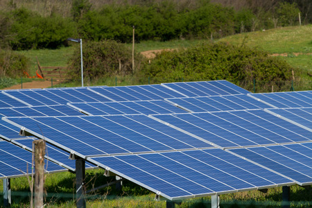 photovoltaic plant in a countryside near rome Stock Photo