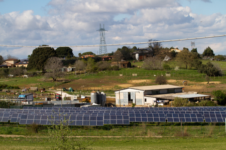 photovoltaic plant in a countryside near rome Standard-Bild - 113789354