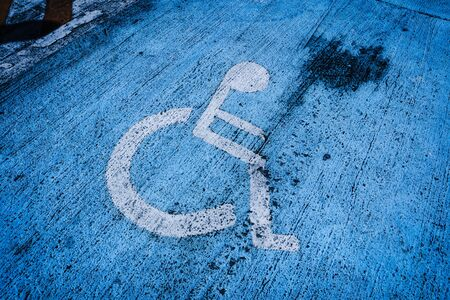 Sign Disabled Person Wheelchair on Street Parking Airport floor