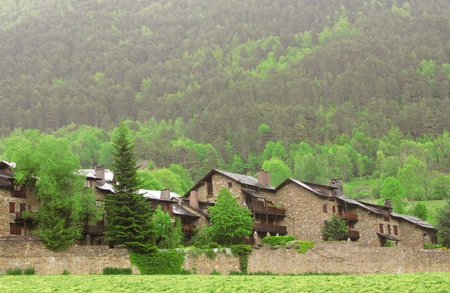 Little village situated in the heart of Pyrenees moutains photo