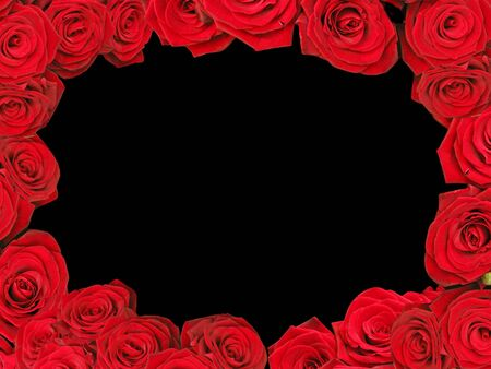 Decorative red roses frame isolated in black