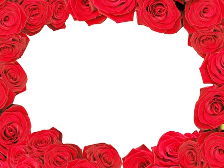 Decorative red roses frame isolated in white