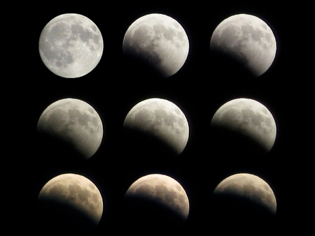 Different phases of the moon eclipse that took place on 16th august 2008 photo