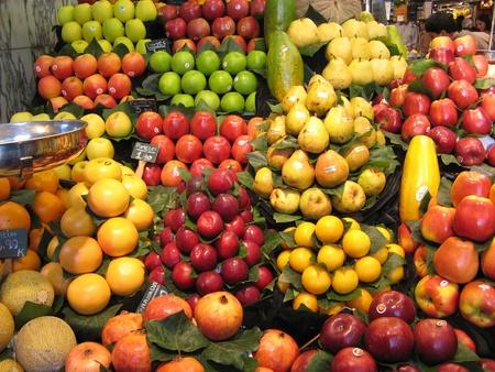 fruit stand: Fruits market, in La Boqueria,Barcelona famous marketplace