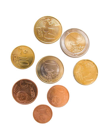 All euro coins available, isolated in white photo