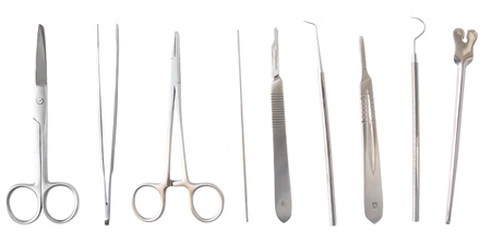 surgery tools: Diverse medical and surgery instruments isolated in white