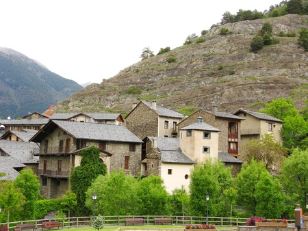 Little village situated in the heart of Pyrenees moutains Stock Photo