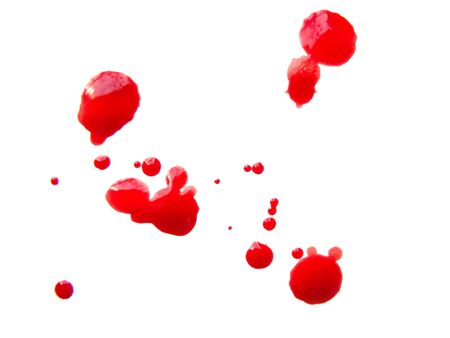 Some blood drops splash over white background photo
