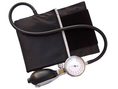 blood pressure bulb: Blood pressure sphygmomanometer, with clipping path Stock Photo