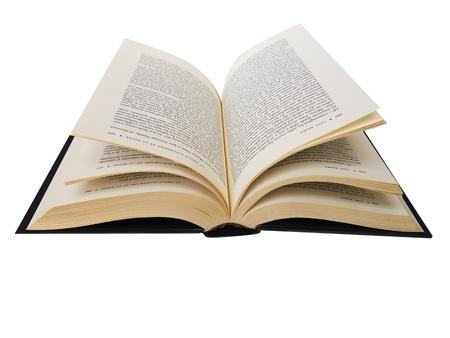 leerboek: Open boek met pagina's geïsoleerd in het wit Stockfoto