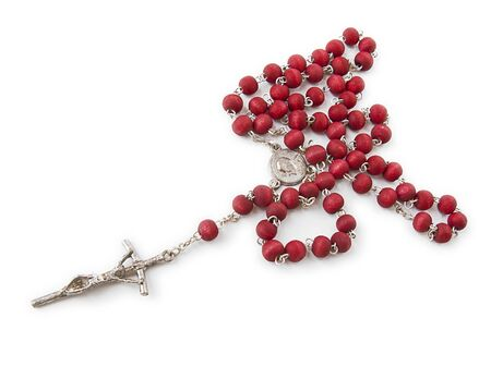 Red rosary made of roses petals