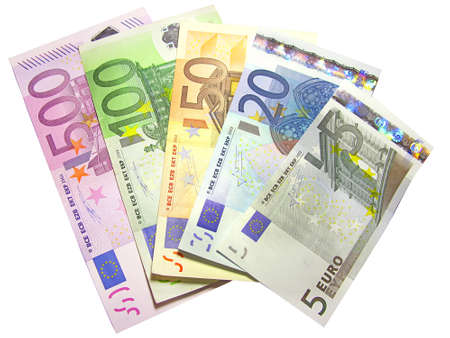 Different euro bills isolated in white photo