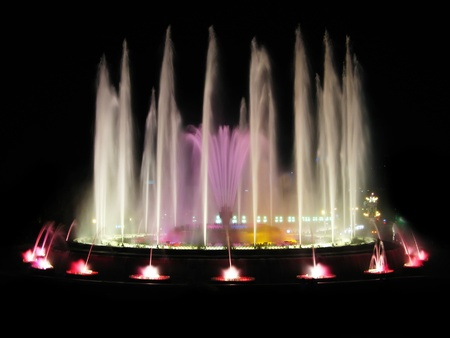 Montjuic magic fountain. A lights,colors and music spectacle at night, displayed in magic fountains situated in Barcelona (Spain) Stock Photo - 9668532