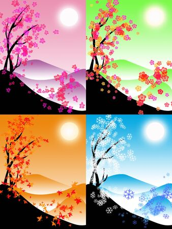 seasons: Vier seizoenen illustratie in verschillende kleuren