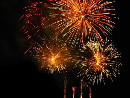 Coloratissimi fuochi d'artificio sopra il cielo scuro, visualizzati durante la Santa Patrona di Barcellona La Merce (24 settembre)