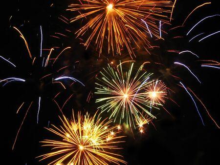 enjoyable: Colorful fireworks over dark sky during a celebration in Barcelona