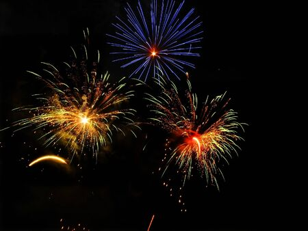 artifice: Colorful fireworks over dark sky, displayed during a celebration in Barcelona
