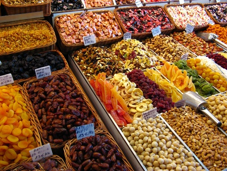 candy shop: Sweets and dried fruits in the market Stock Photo