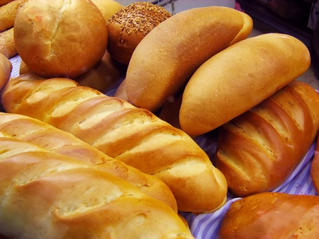 Bread baguettes and buns still life Stock Photo - 10268611