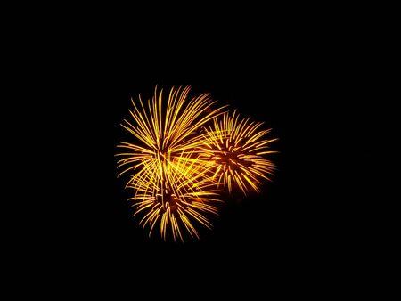 Colorful fireworks over dark sky, displayed during Barcelona Patron Saint La Merce (24th of september) photo