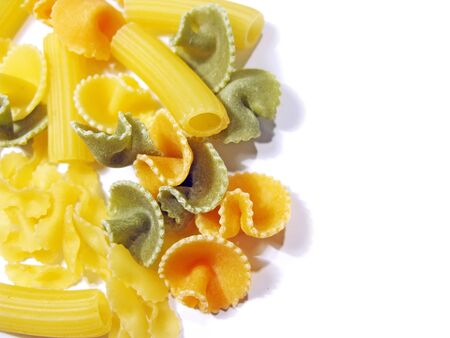 farinaceous: Italian pasta isolated in white, close up Stock Photo