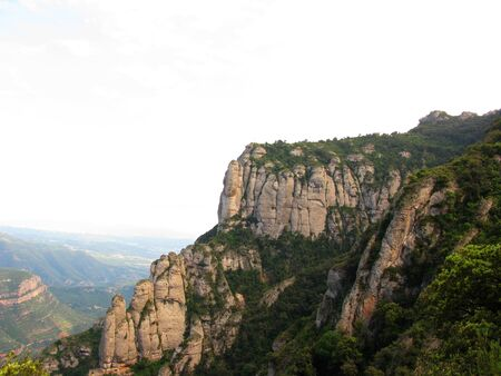 conglomeration: Montserrat mountains in Catalonia(Spain). Stock Photo