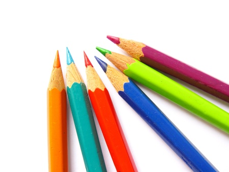 Various colorful pencils in a close up Stock Photo