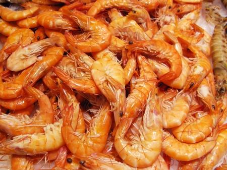 Red prawns at the market (La Boqueria, Barcelona) photo