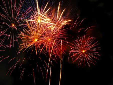 merce: Colorful fireworks over dark sky, displayed during Barcelona Patron Saint La Merce (24th of september)
