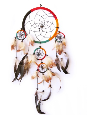 native american art: A red,green and black dreamcatcher isolated in white.