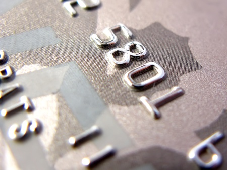 mastercard: Numbers of golden credit card in very close up Stock Photo