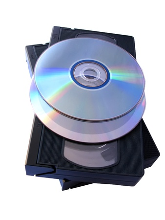 recordable media: Media storage: two DVD and two VHS tapes. Old versus new technology