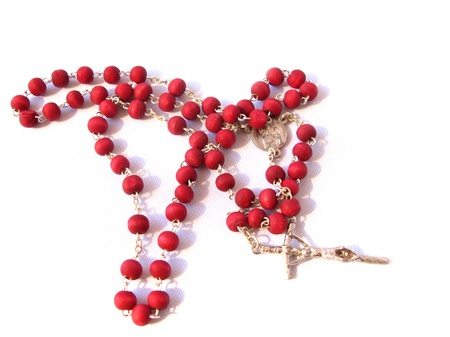 Red rosary made of rose's petals