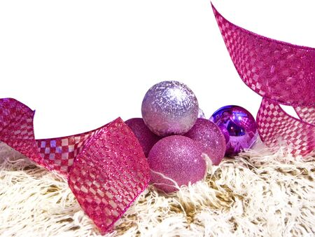 Christmas decoration and ornaments in white background