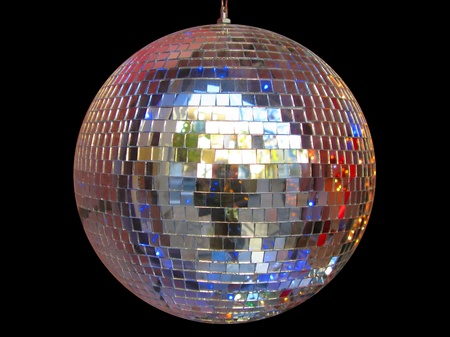 Plain disco ball isolated in black