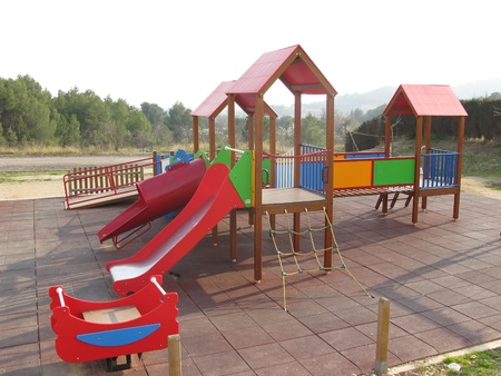 Colorful and empty children playground. General view