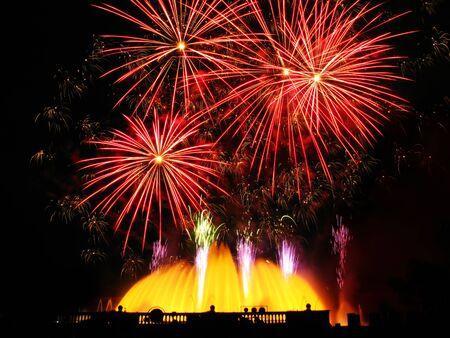 artifice: Colorful fireworks over dark sky, displayed during Barcelona Patron Saint La Merce (24th of september)