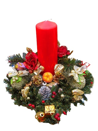centerpiece: Redreen christmas candle and ornaments isolated in white Stock Photo