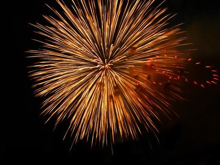 Colorful fireworks over dark sky, displayed during Barcelona Patron Saint La Merce (24th of september)