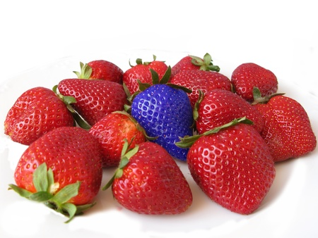 rare: Red strawberries with a blue one. Difference and unique concept