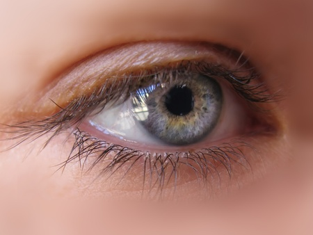 make belief: Blue iris eye in a macro picture. Closeup Stock Photo